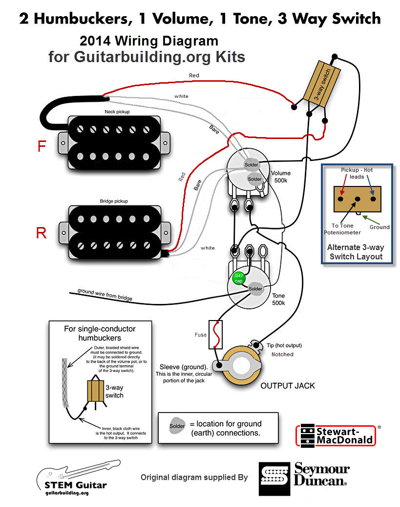 Electronics Wiring Schematics | Bass 2 Pick Up Guitar Wiring Diagram |  | Guitarbuilding.org