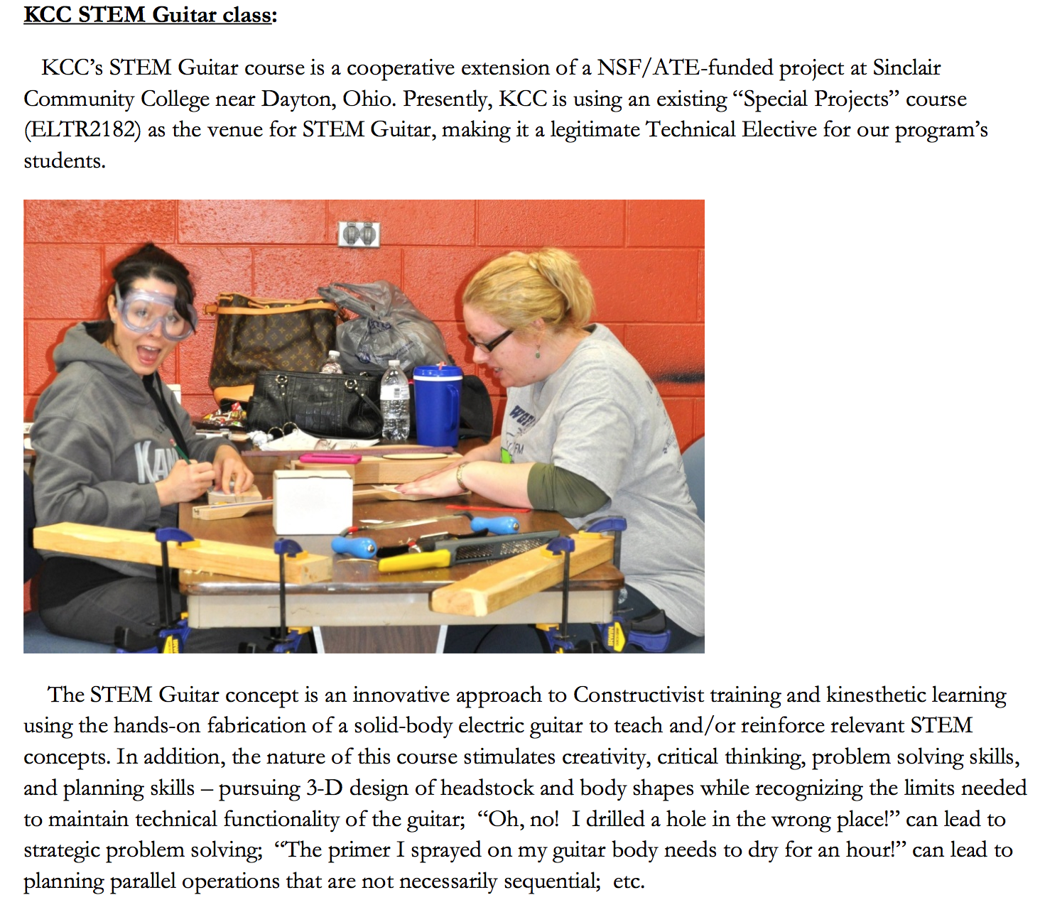 KCC's STEM Guitar Press Release